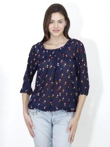 Mayra Casual 3/4th Sleeve Printed Women's Dark Blue Top
