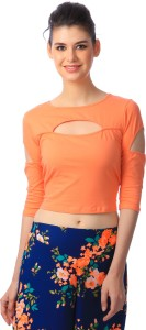 Cation Casual 3/4th Sleeve Solid Women's Orange Top
