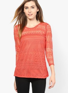 Mayra Party 3/4th Sleeve Solid Women's Orange Top