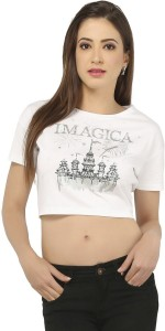Imagica Casual Short Sleeve Printed Women's White Top
