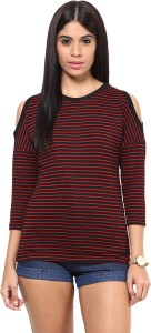 Hypernation Casual 3/4th Sleeve Striped Women's Red, Black Top