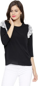 Sassafras Casual 3/4th Sleeve Solid Women's Black, White Top