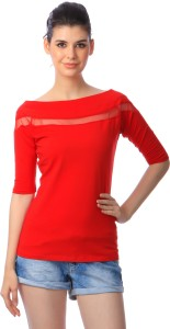 Cation Casual Short Sleeve Solid Women's Red Top