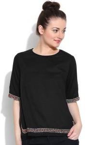 Vaak Casual Short Sleeve Solid Women's Black Top