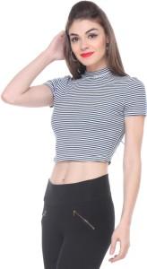 Zastraa Casual Short Sleeve Striped Women's Black, White Top