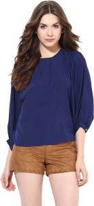 Miss Chase Casual 3/4th Sleeve Solid Women's Blue Top