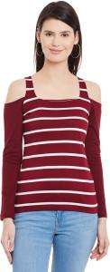 Hypernation Casual Full Sleeve Striped Women's Maroon, White Top