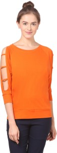 Fashion Expo Casual 3/4th Sleeve Solid Women's Orange Top