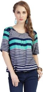 Ziyaa Casual Short Sleeve Striped Women's Multicolor Top