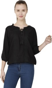 BuyNewTrend Casual 3/4th Sleeve Embroidered Women's Black Top