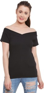 Miss Chase Party Short Sleeve Solid Women's Black Top