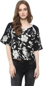 Harpa Casual Short Sleeve Floral Print Women's Black Top