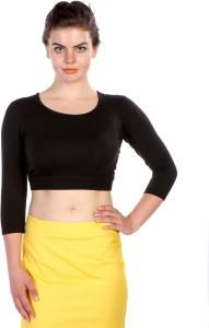 James Scot Lounge Wear 3/4th Sleeve Solid Women's Black Top