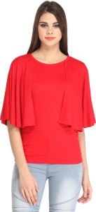 Cation Casual Kimono Sleeve Solid Women's Red Top