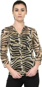 Tunic Nation Casual 3/4th Sleeve Animal Print Women's Multicolor Top