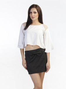 Schwof Party Short Sleeve Solid Women's White Top