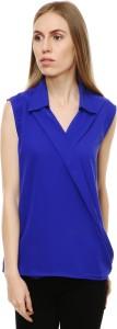 Myshka Casual Sleeveless Solid Women's Blue Top