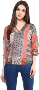 Mayra Party 3/4th Sleeve Printed Women's Multicolor Top