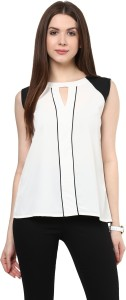 Rare Casual Sleeveless Solid Women's White Top