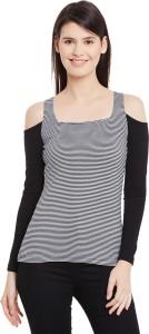 Hypernation Casual Full Sleeve Striped Women's Black, White Top