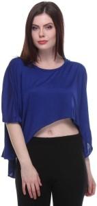 TeeMoods Casual Cap Sleeve Solid Women's Blue Top