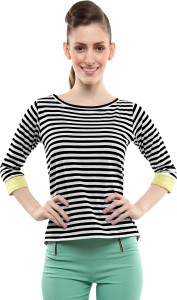 Miss Chase Casual 3/4th Sleeve Striped Women's Black Top