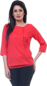 Farha Casual 3/4th Sleeve Solid Women's Red Top