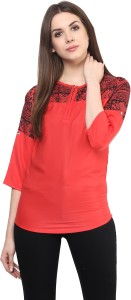 Mayra Casual 3/4th Sleeve Printed Women's Red Top