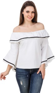 BrandMeUp Party Bell Sleeve Solid Women's White Top