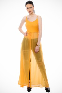 Cation Casual Sleeveless Solid Women's Yellow Top