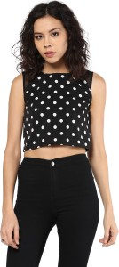 1d8717310f Roving Mode Casual Sleeveless Polka Print Women s Black Top Best ...