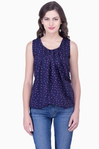 JTInternational Casual Sleeveless Printed Women Blue Top
