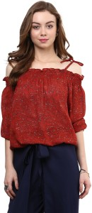 Rare Casual Short Sleeve Solid Women's Red Top