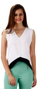 Miss Chase Casual Sleeveless Solid Women's White Top