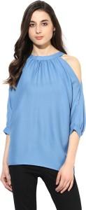 Calgari Casual Full Sleeve Solid Women's Blue Top