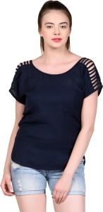 LA ATTIRE Casual Short Sleeve Solid Women's Blue Top