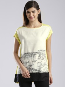 e7d3f41ce8b W Casual Short Sleeve Solid Women s White Yellow Top Best Price in India |  W Casual Short Sleeve Solid Women s White Yellow Top Compare Price List  From W ...