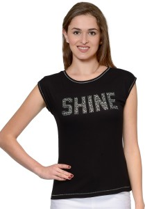 Unshackled Casual Short Sleeve Solid Women's Black Top