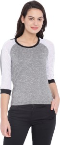 Campus Sutra Casual 3/4th Sleeve Solid Women's Multicolor Top