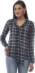 @499 Casual Full Sleeve Checkered Women's Blue, White Top