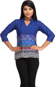 Cottinfab Casual 3/4th Sleeve Floral Print Women's Blue Top