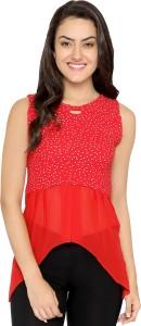 Chimpaaanzee Party Sleeveless Polka Print Women's Red Top