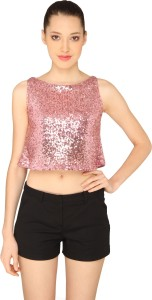 Ashtag Party Sleeveless Embellished Women's Pink Top