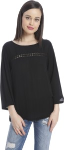 Only Casual 3/4th Sleeve Solid Women's Black Top