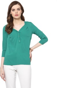 c74f8d8664a6d1 Harpa Casual 3 4th Sleeve Solid Women s Green Top Best Price in ...