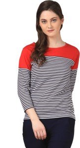 Fashion Expo Casual 3/4th Sleeve Striped Women's Black, White Top