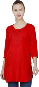 BuyNewTrend Casual 3/4th Sleeve Embroidered Women's Red Top
