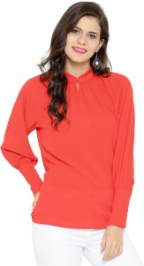 Sassafras Casual Full Sleeve Solid Women's Red Top
