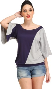 Cation Casual 3/4th Sleeve Solid Women's Grey, Blue Top