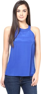 Harpa Party Sleeveless Solid Women's Blue Top